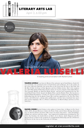 Valeria Luiselli reading and conversation with Rachel Cohen 6 pm central